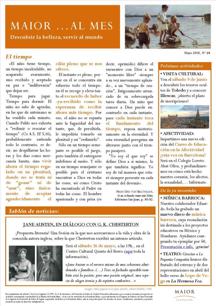 Boletín mensual de noticias y actividades de la Fundación Maior. Edición de mayo 2018