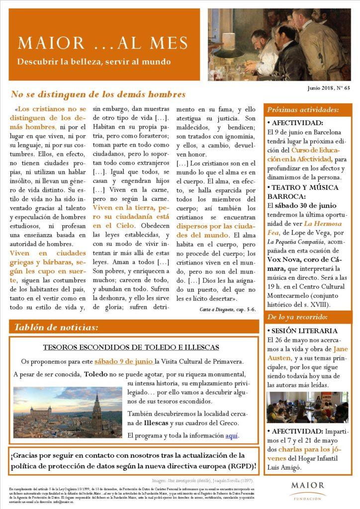 Boletín mensual de noticias y actividades de la Fundación Maior. Edición de junio 2018