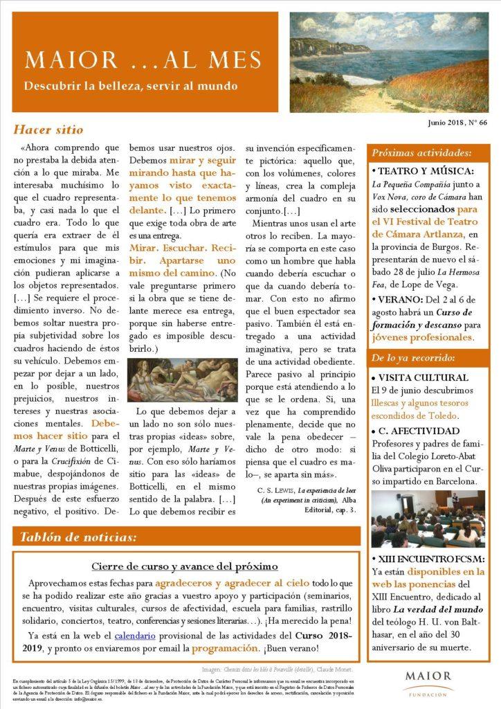 Boletín mensual de noticias y actividades de la Fundación Maior. Edición de julio 2018