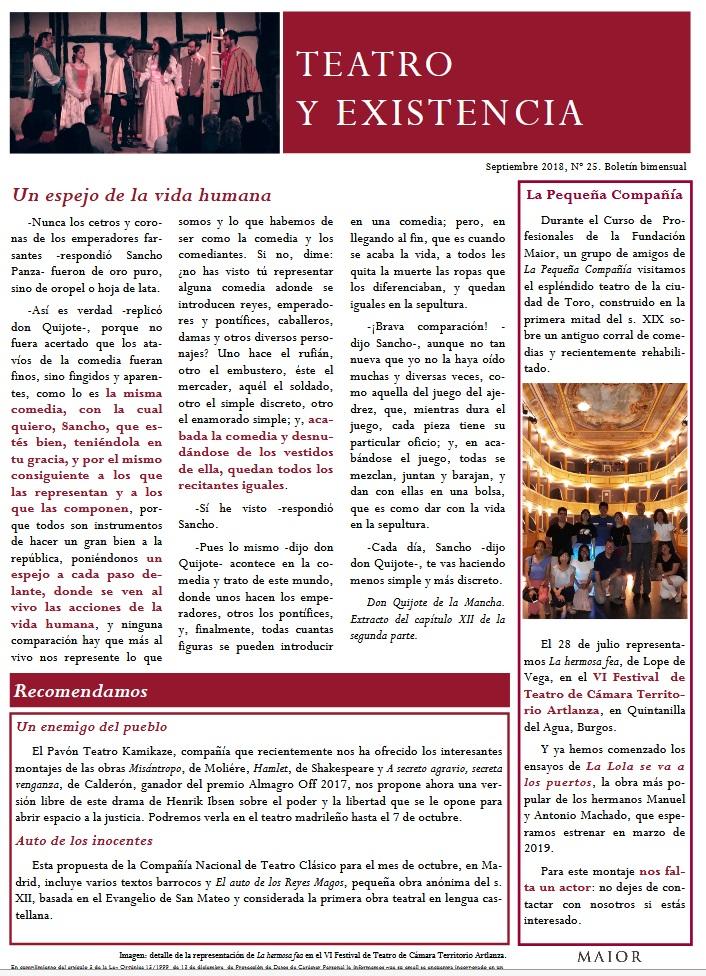 Boletín de Teatro y Existencia de La Pequeña Compañía de la Fundación Maior, con recomendaciones de la cartelera. Edición de Septiembre 2018