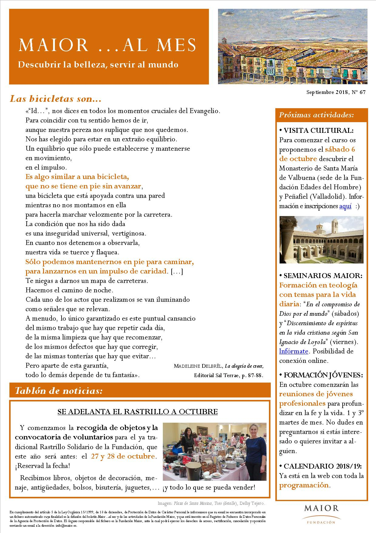 Boletín mensual de noticias y actividades de la Fundación Maior. Edición de septiembre 2018