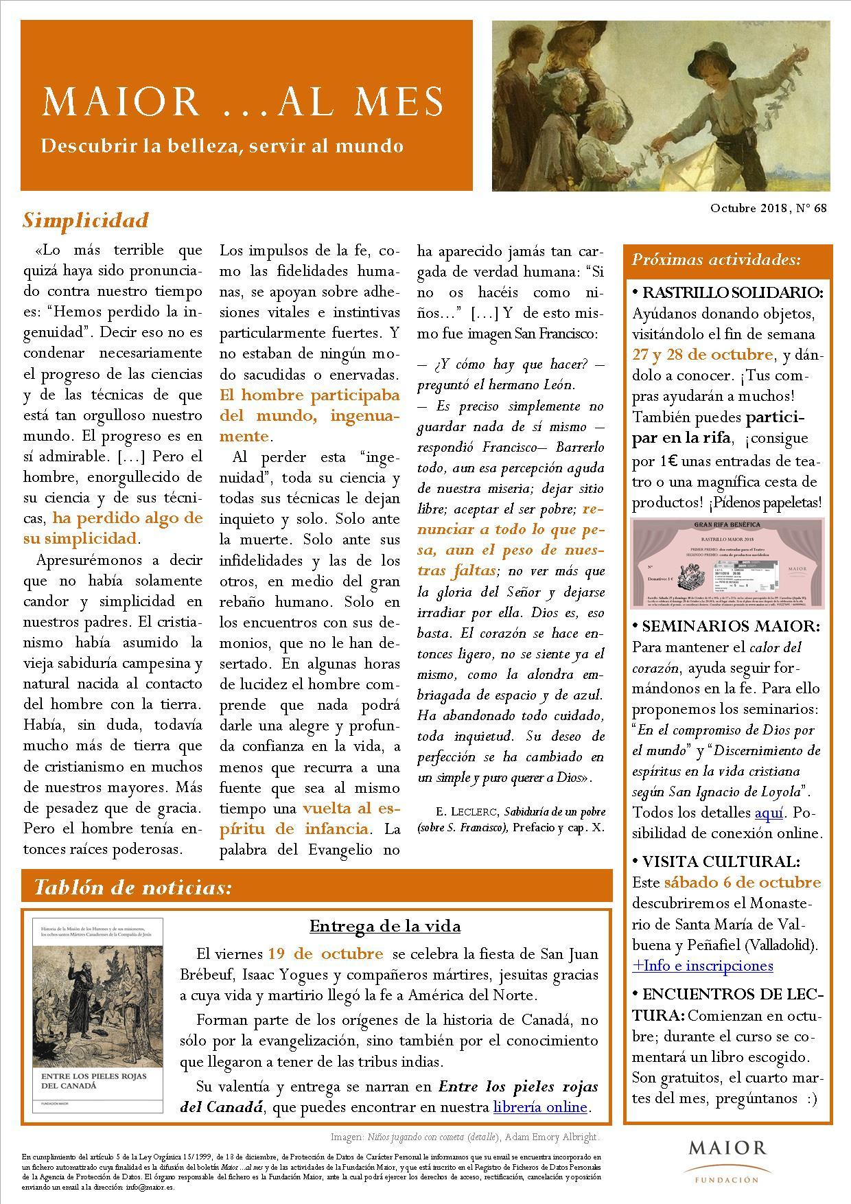 Boletín mensual de noticias y actividades de la Fundación Maior. Edición de octubre 2018