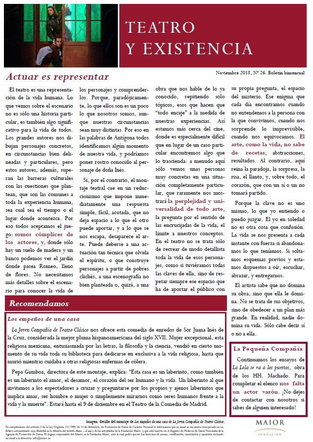 Boletín de Teatro y Existencia de La Pequeña Compañía de la Fundación Maior, con recomendaciones de la cartelera. Edición de Noviembre 2018