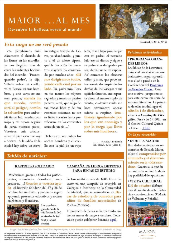 Boletín mensual de noticias y actividades de la Fundación Maior. Edición de noviembre 2018