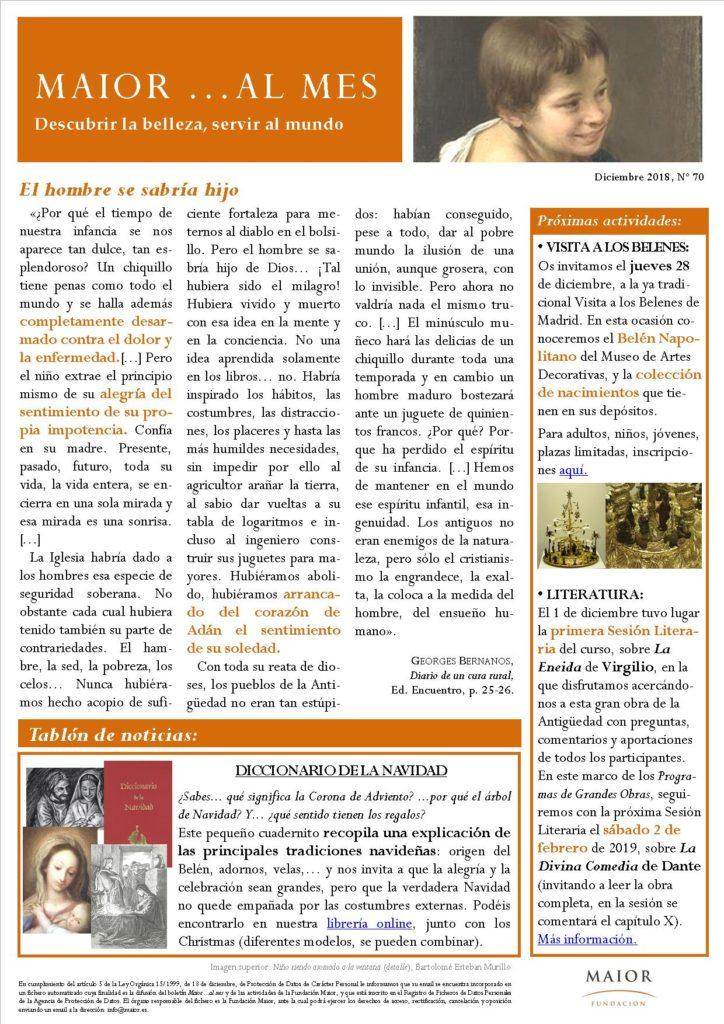 Boletín mensual de noticias y actividades de la Fundación Maior. Edición de diciembre 2018