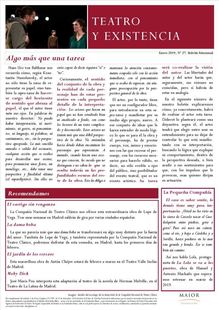Boletín de Teatro y Existencia de La Pequeña Compañía de la Fundación Maior, con recomendaciones de la cartelera. Edición de Enero 2019