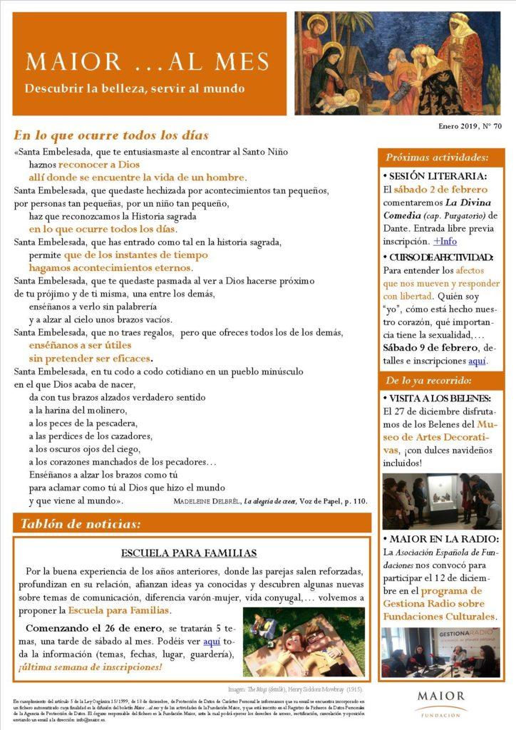 Boletín mensual de noticias y actividades de la Fundación Maior. Edición de enero 2019