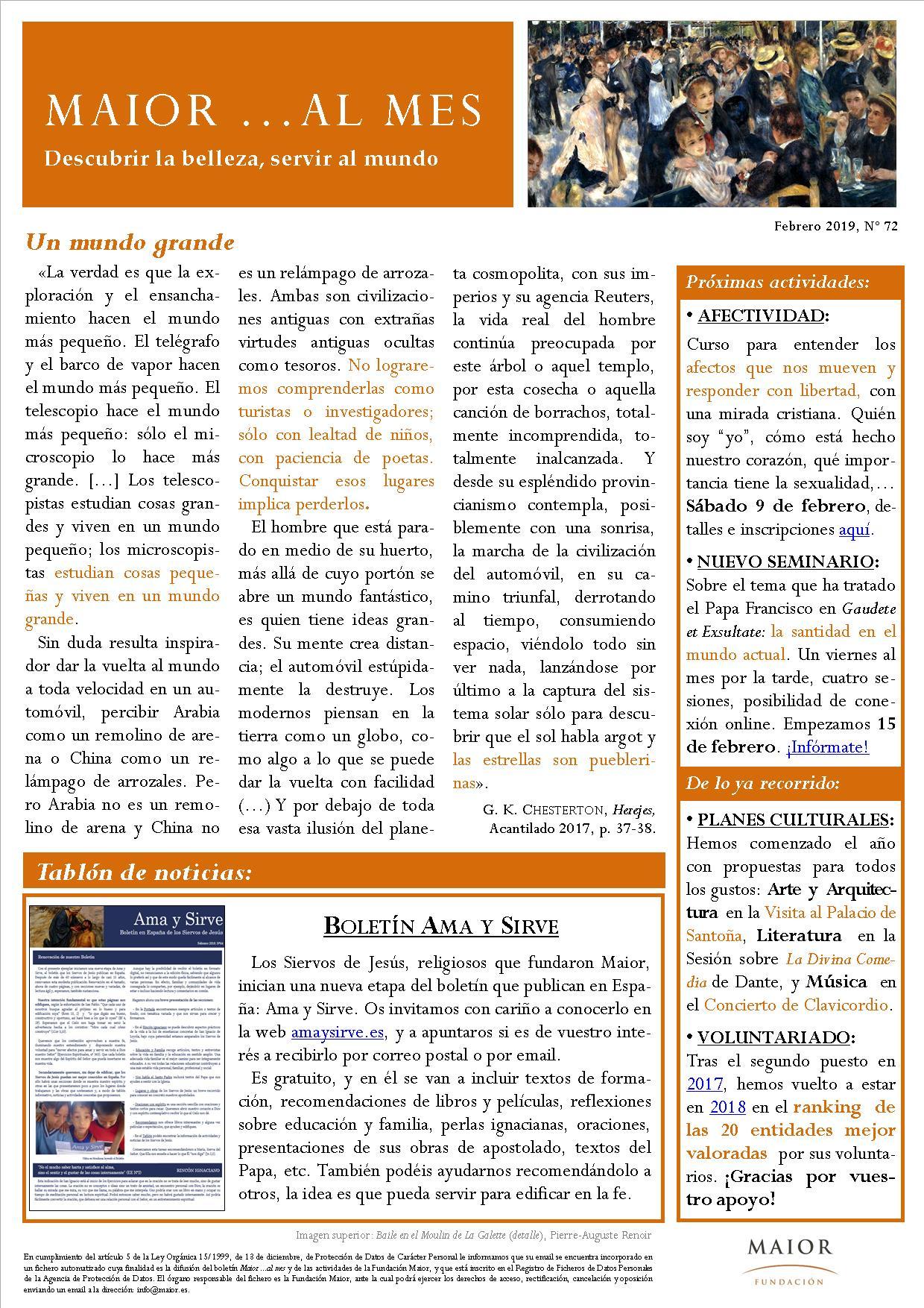 Boletín mensual de noticias y actividades de la Fundación Maior. Edición de febrero 2019