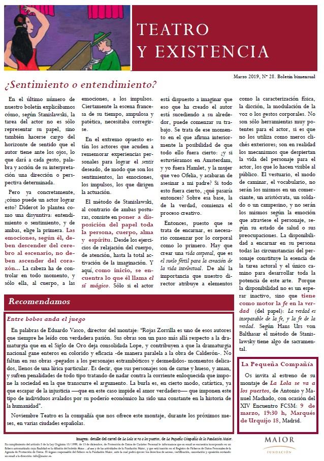 Boletín de Teatro y Existencia de La Pequeña Compañía de la Fundación Maior, con recomendaciones de la cartelera. Edición de Marzo 2019