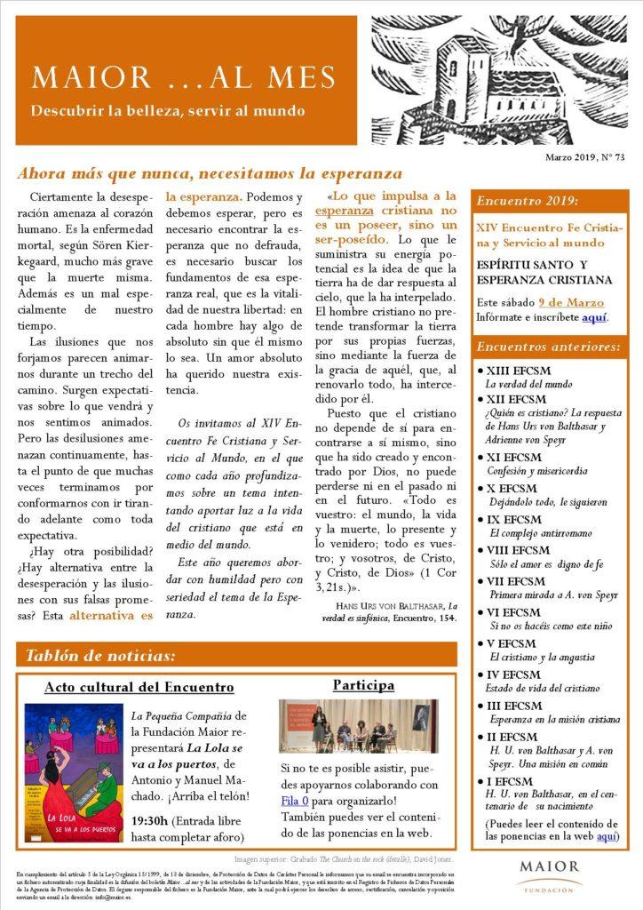 Boletín mensual de noticias y actividades de la Fundación Maior. Edición de marzo 2019
