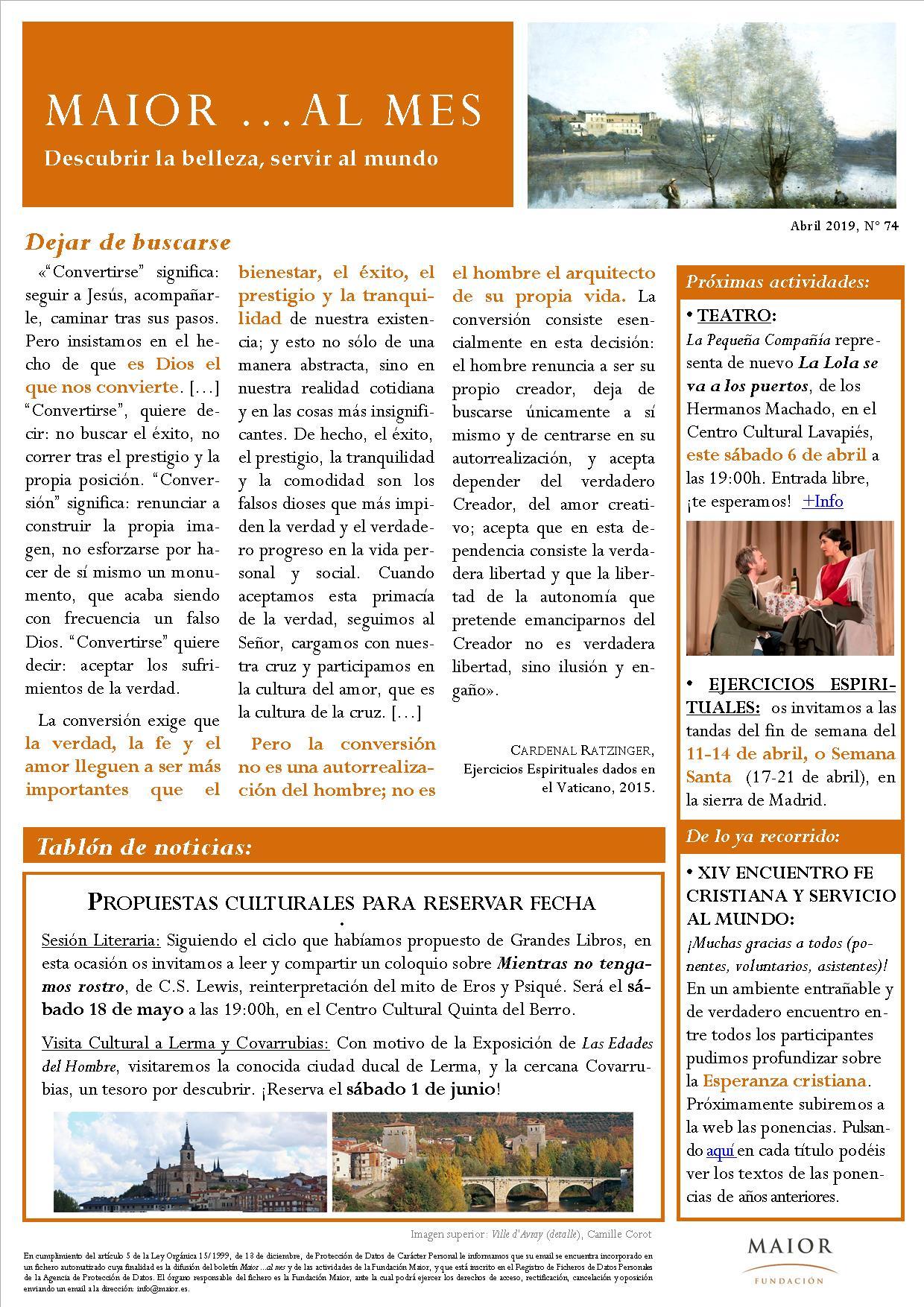 Boletín mensual de noticias y actividades de la Fundación Maior. Edición de abril 2019