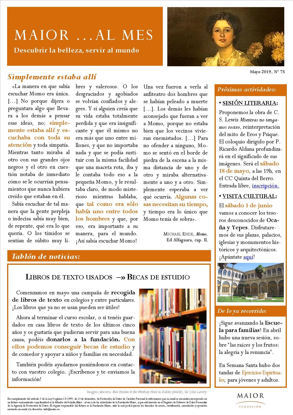Boletín mensual de noticias y actividades de la Fundación Maior. Edición de mayo 2019