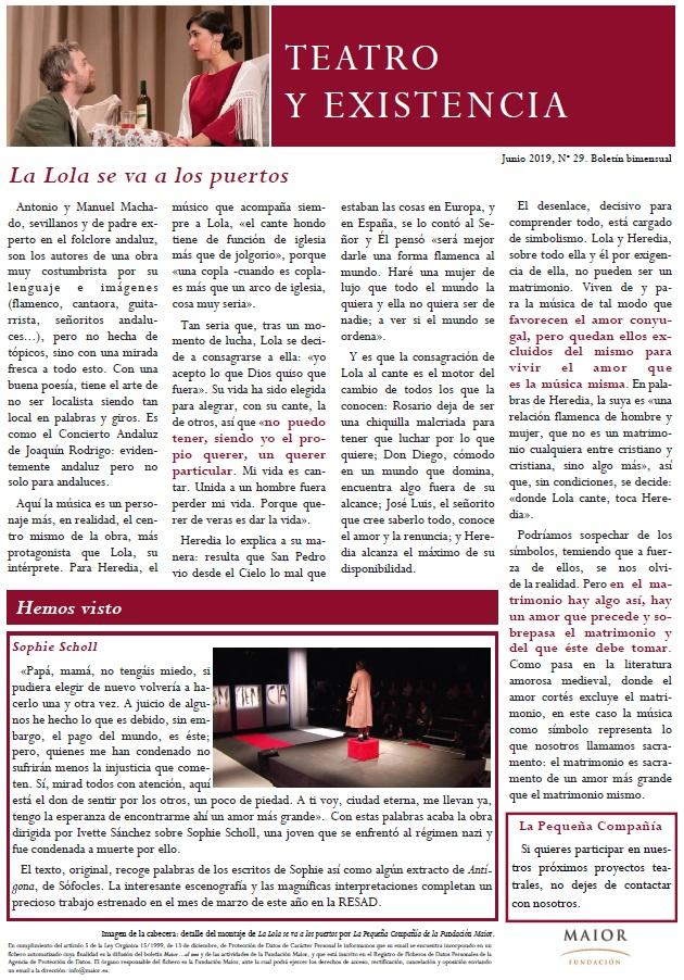Boletín de Teatro y Existencia de La Pequeña Compañía de la Fundación Maior, con recomendaciones de la cartelera. Edición de Junio 2019