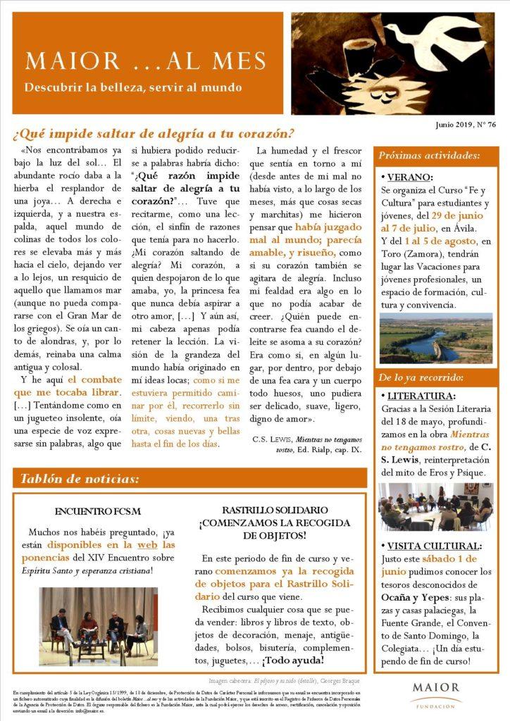 Boletín mensual de noticias y actividades de la Fundación Maior. Edición de junio 2019