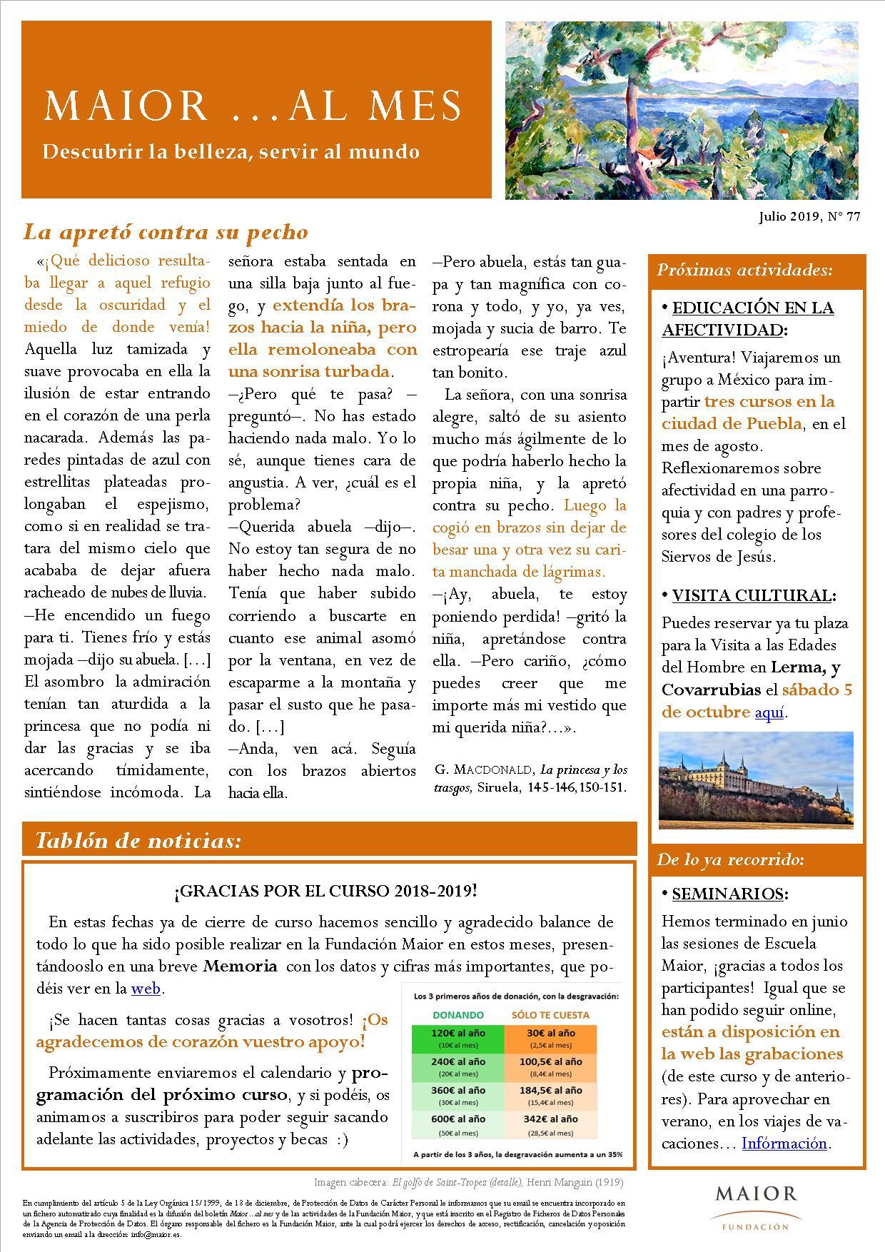 Boletín mensual de noticias y actividades de la Fundación Maior. Edición de julio 2019