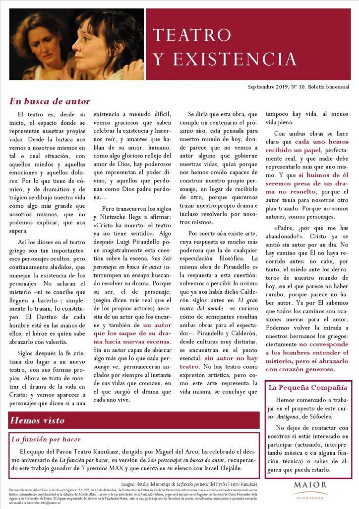 Boletín de Teatro y Existencia de La Pequeña Compañía de la Fundación Maior, con recomendaciones de la cartelera. Edición de Septiembre 2019