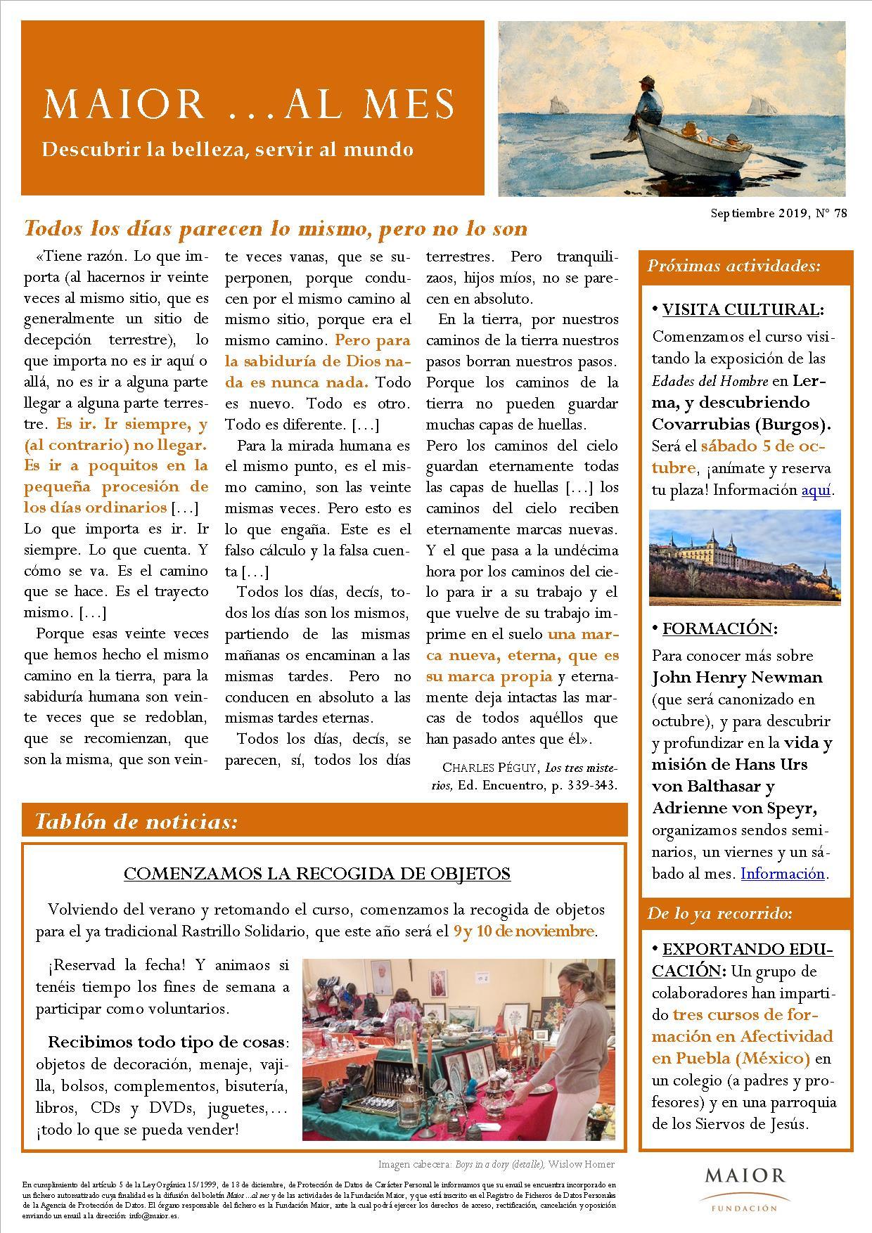 Boletín mensual de noticias y actividades de la Fundación Maior. Edición de septiembre 2019