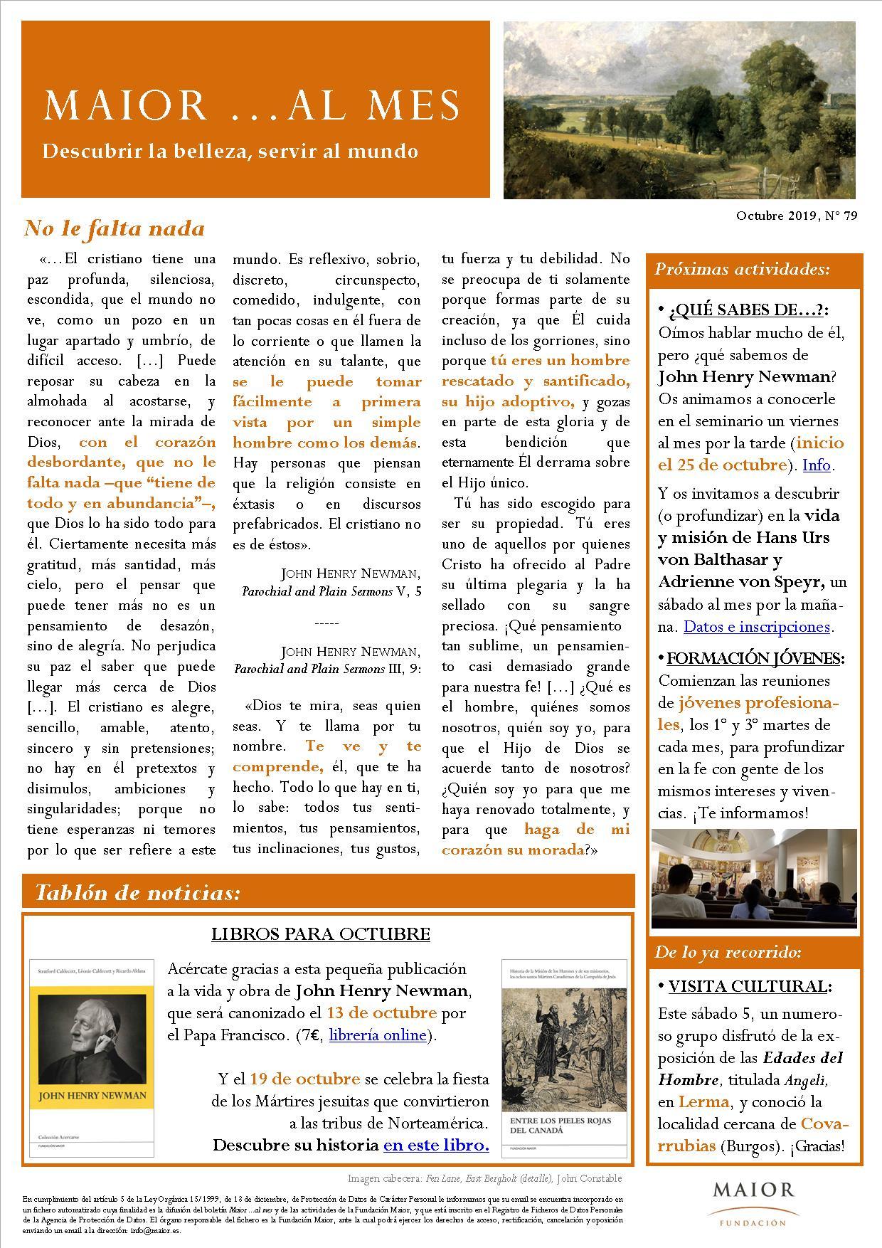 Boletín mensual de noticias y actividades de la Fundación Maior. Edición de octubre 2019