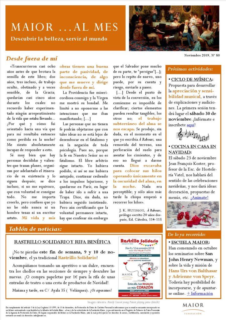 Boletín mensual de noticias y actividades de la Fundación Maior. Edición de noviembre 2019