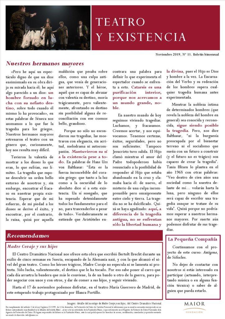 Boletín de Teatro y Existencia de La Pequeña Compañía de la Fundación Maior, con recomendaciones de la cartelera. Edición de Noviembre 2019