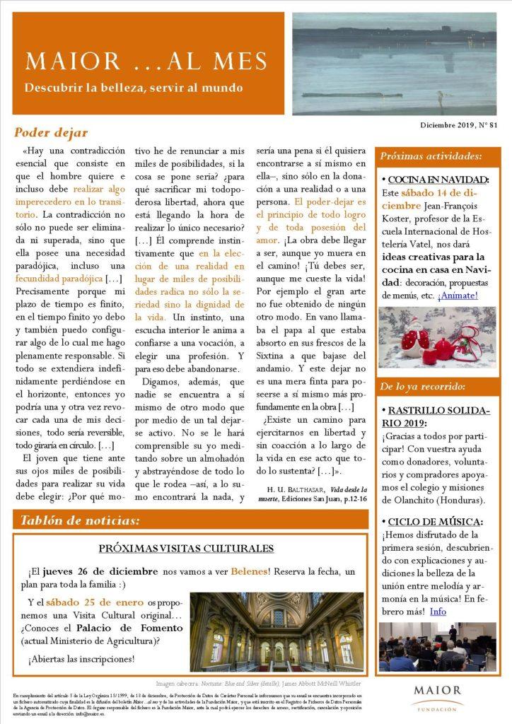 Boletín mensual de noticias y actividades de la Fundación Maior. Edición de diciembre 2019