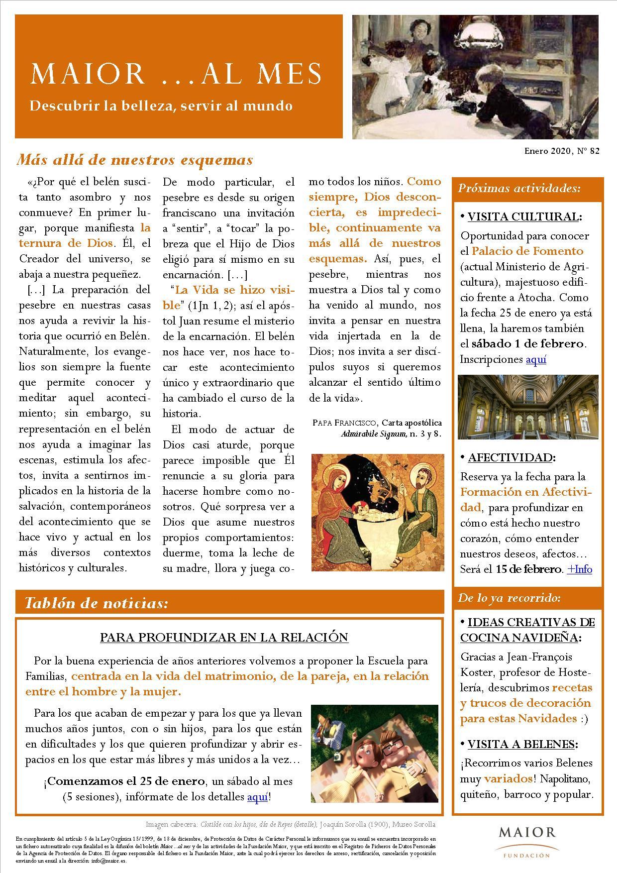 Boletín mensual de noticias y actividades de la Fundación Maior. Edición de enero 2020