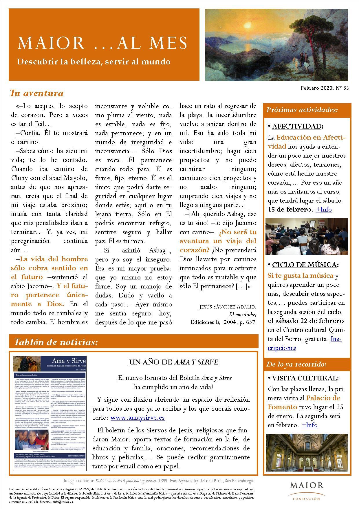 Boletín mensual de noticias y actividades de la Fundación Maior. Edición de febrero 2020