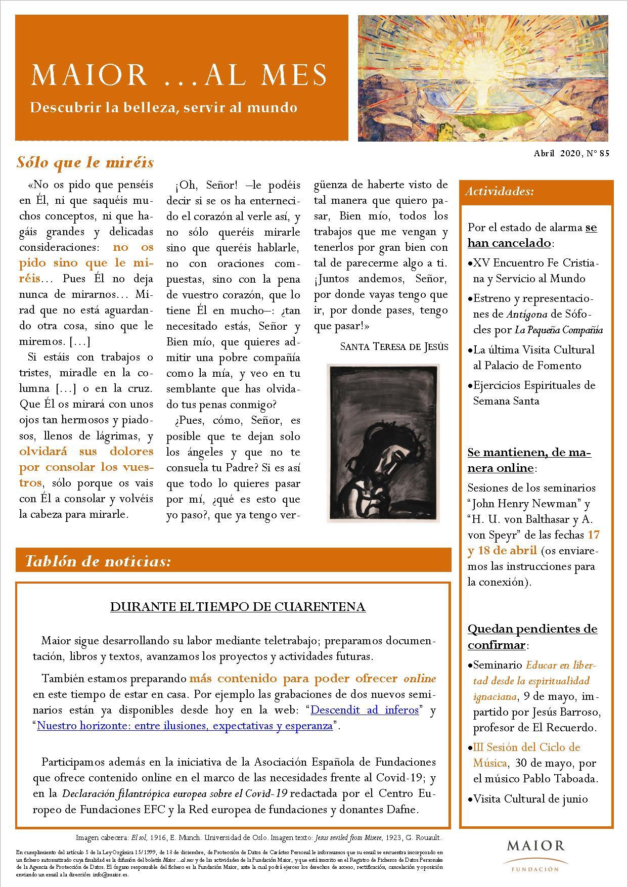 Boletín mensual de noticias y actividades de la Fundación Maior. Edición de abril 2020