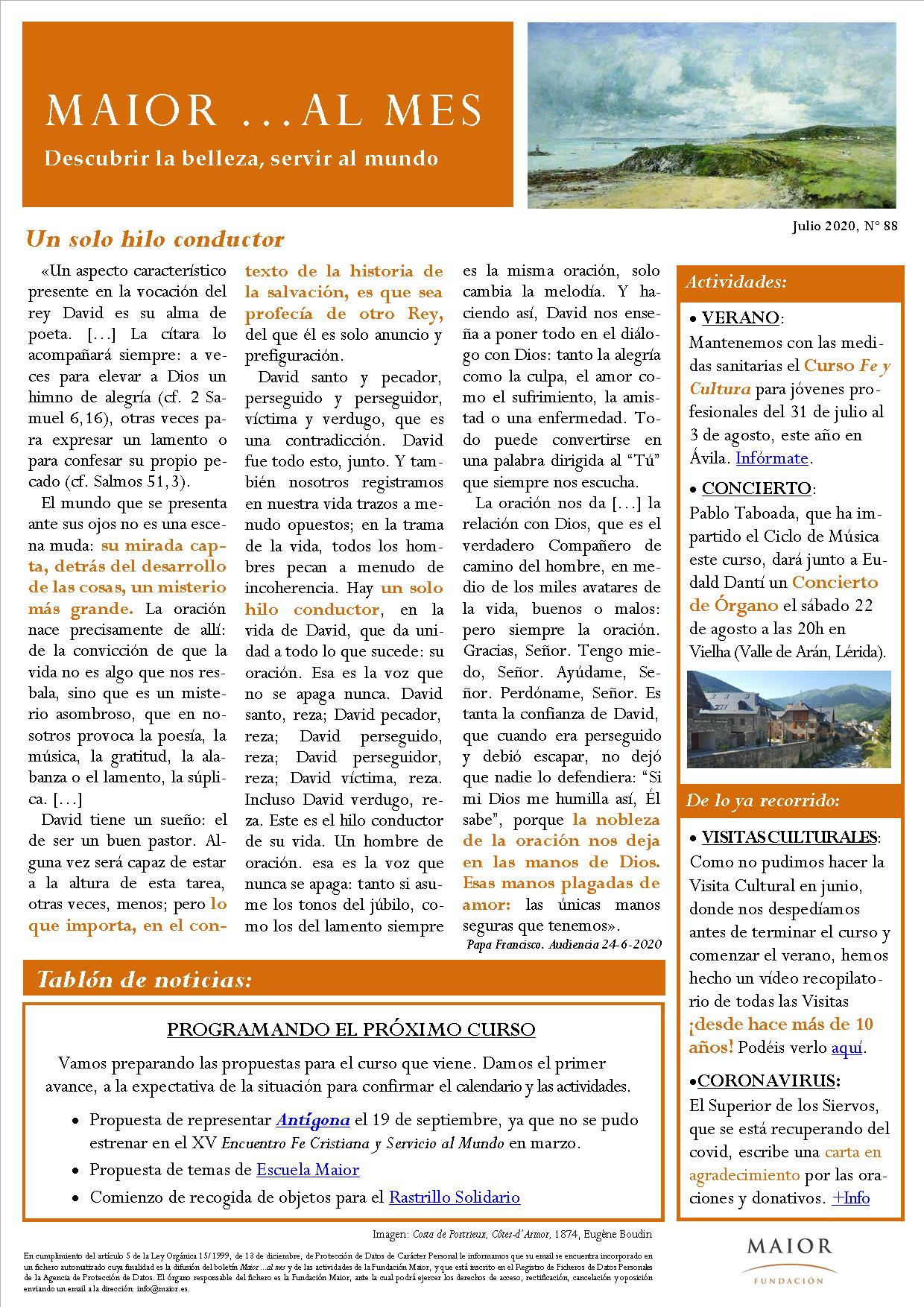 Boletín mensual de noticias y actividades de la Fundación Maior. Edición de julio 2020