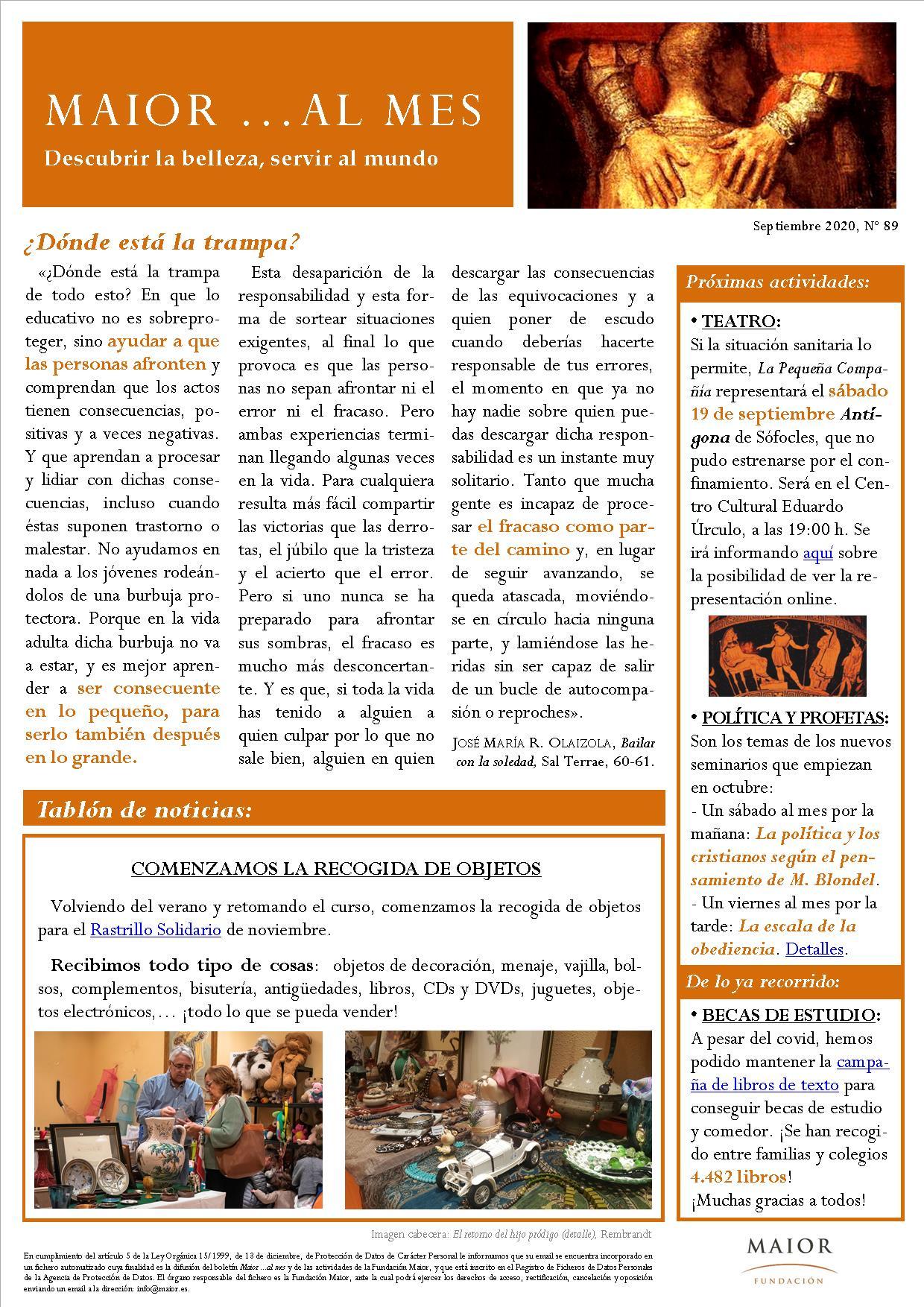 Boletín mensual de noticias y actividades de la Fundación Maior. Edición de septiembre 2020