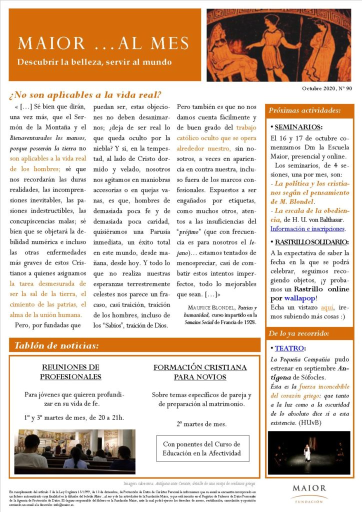 Boletín mensual de noticias y actividades de la Fundación Maior. Edición de octubre 2020