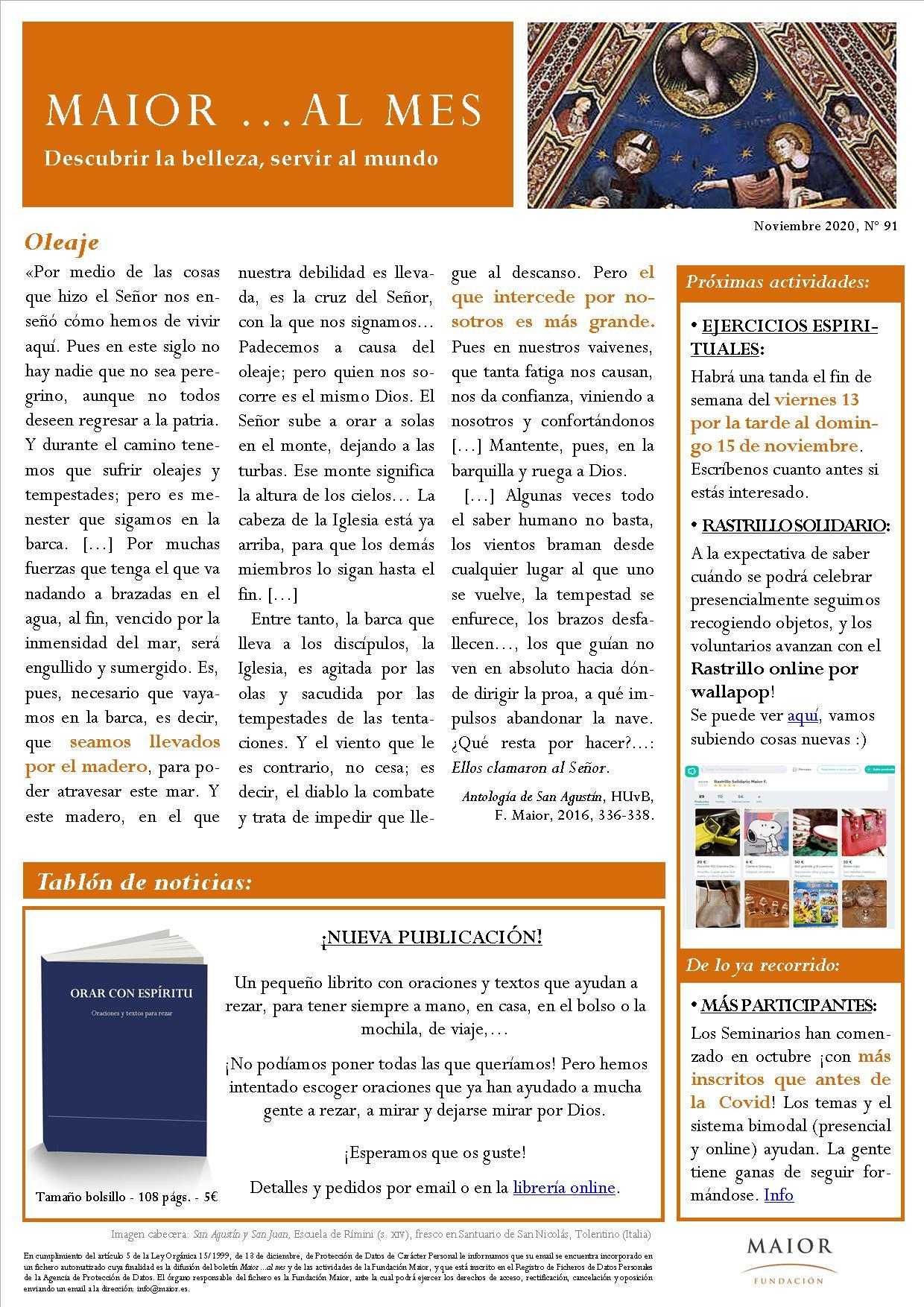 Boletín mensual de noticias y actividades de la Fundación Maior. Edición de noviembre 2020