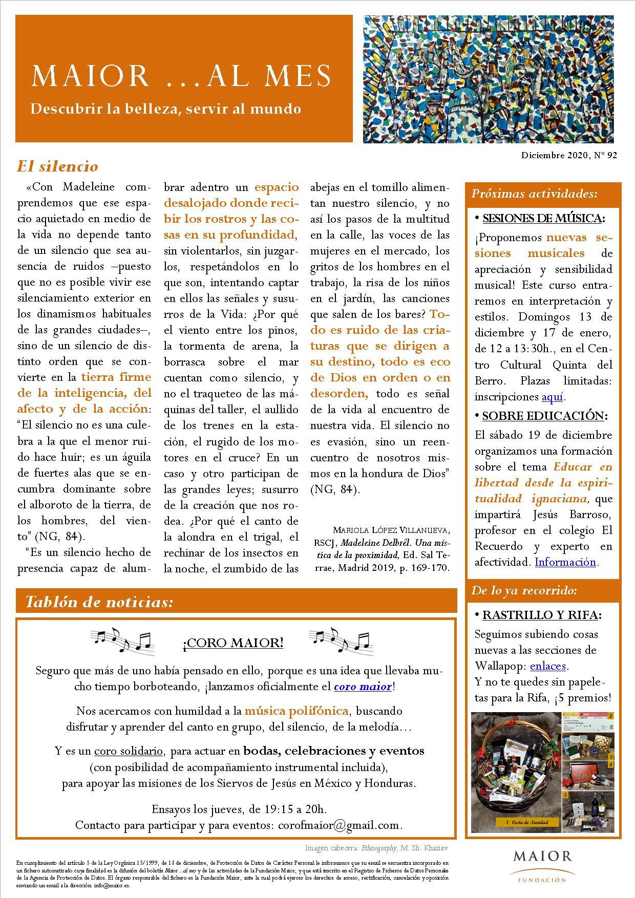 Boletín mensual de noticias y actividades de la Fundación Maior. Edición de diciembre 2020