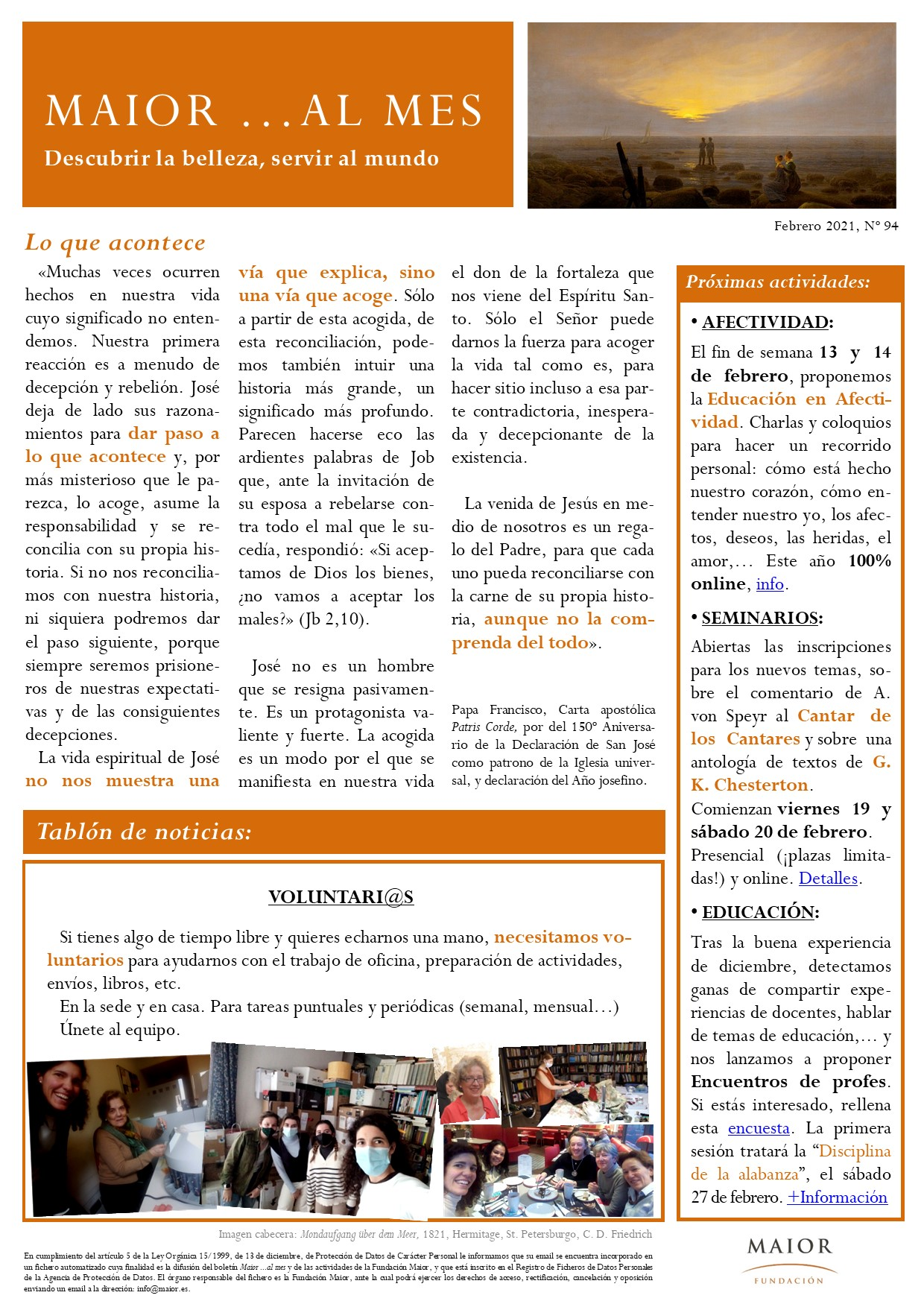 Boletín mensual de noticias y actividades de la Fundación Maior. Edición de febrero 2021