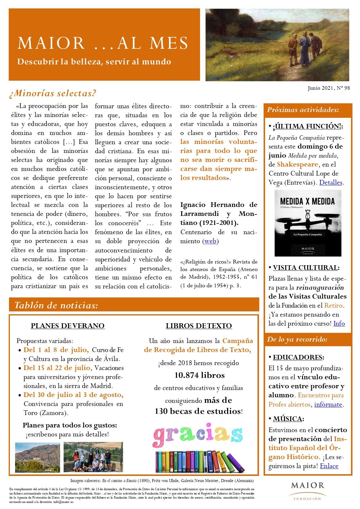 Boletín mensual de noticias y actividades de la Fundación Maior. Edición de junio 2021