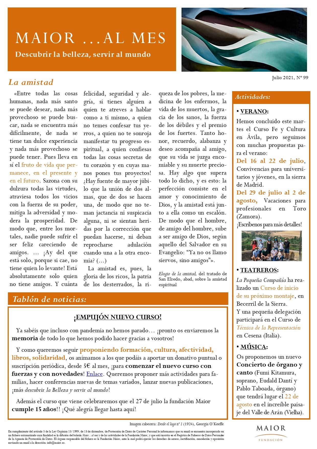 Boletín mensual de noticias y actividades de la Fundación Maior. Edición de julio 2021
