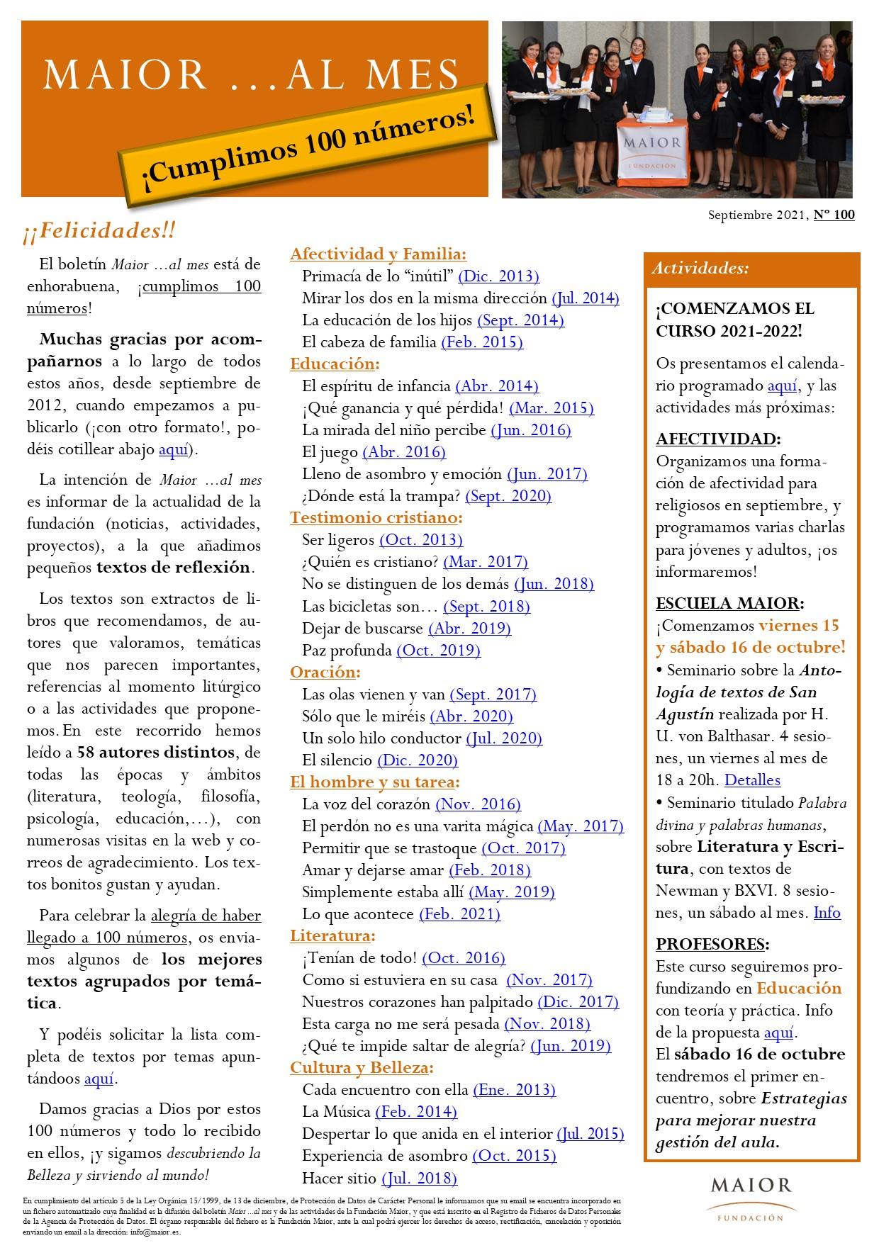 Boletín mensual de noticias y actividades de la Fundación Maior. Edición de septiembre 2021